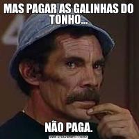 MAS PAGAR AS GALINHAS DO TONHO...NÃO PAGA.