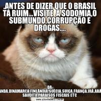 .ANTES DE DIZER QUE O BRASIL TÁ RUIM...VISITE  A SODOMIA,O SUBMUNDO,CORRUPÇÃO E DROGAS....DA HOLANDA,DINAMARCA,FINLÂNDIA,SUÉCIA,SUIÇA,FRANÇA,IRÃ,ARÁBIA SAUDITA,PARAISOS FISCAIS ETC