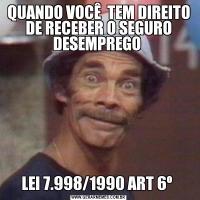 QUANDO VOCÊ  TEM DIREITO DE RECEBER O SEGURO DESEMPREGO LEI 7.998/1990 ART 6º