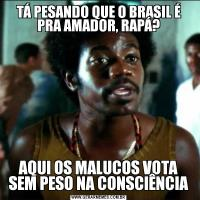 TÁ PESANDO QUE O BRASIL É PRA AMADOR, RAPÁ?AQUI OS MALUCOS VOTA SEM PESO NA CONSCIÊNCIA