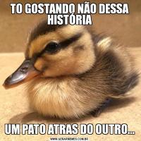 TO GOSTANDO NÃO DESSA HISTÓRIAUM PATO ATRAS DO OUTRO...