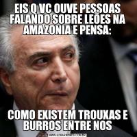 EIS Q VC OUVE PESSOAS FALANDO SOBRE LEÕES NA AMAZONIA E PENSA:COMO EXISTEM TROUXAS E BURROS ENTRE NOS