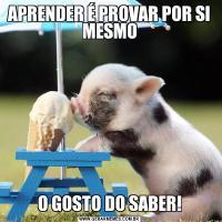 APRENDER É PROVAR POR SI MESMOO GOSTO DO SABER!
