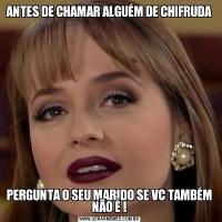 ANTES DE CHAMAR ALGUÉM DE CHIFRUDAPERGUNTA O SEU MARIDO SE VC TAMBÉM NÃO É !
