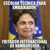 ESCOLHA TÉCNICA PARA EMBAIXADOR:FRITADOR INTERNACIONAL DE HAMBÚRGUER