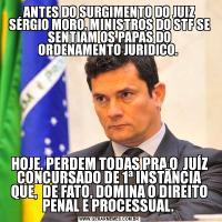 ANTES DO SURGIMENTO DO JUIZ SÉRGIO MORO, MINISTROS DO STF SE SENTIAM OS PAPAS DO ORDENAMENTO JURIDICO. HOJE, PERDEM TODAS PRA O  JUÍZ CONCURSADO DE 1ª INSTÃNCIA QUE,  DE FATO, DOMINA O DIREITO PENAL E PROCESSUAL.