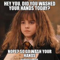 HEY YOU. DID YOU WASHED YOUR HANDS TODAY?NOPE? SO GO WASH YOUR HANDS