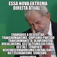 ESSA NOVA EXTREMA DIREITA ATUAL...CHAMADOS A DESPERTAR, TRANSHUMANISMO, CHIPISMO, PARTIDO TRANSHUMANISTA, OLAVISMO, VOEGELINISMO, GESTALTISMO CULTURAL, GESTALT-TERAPIA, NEOCONSERVADORISMO, LIBERALISMO, NIETZSCHIANISMO, SIONISMO...