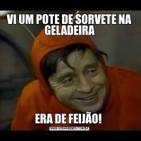 VI UM POTE DE SORVETE NA GELADEIRAERA DE FEIJÃO!